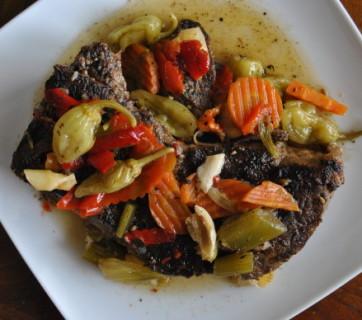 Slow Cooker Giardinera Chuck Roast