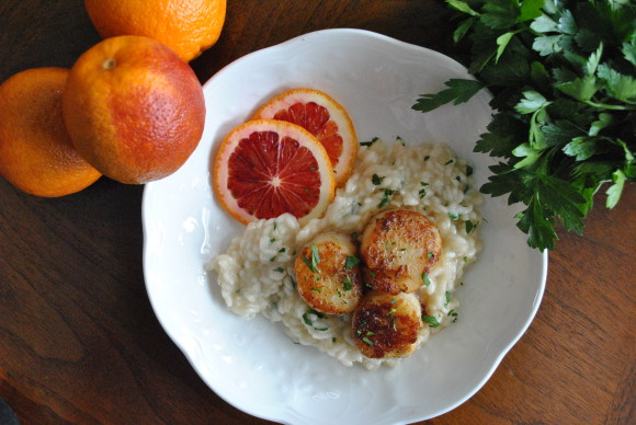 Blood Orange Kissed Sea Scallops over Champagne Risotto