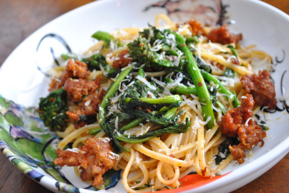 Linguine Fra Diavolo w/Broccoli Rabe and Hot Italian Sausage