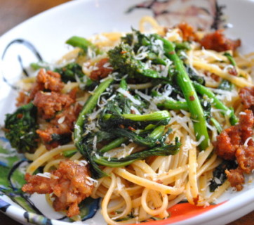 Linguine Fra Diavolo w Broccoli Rabe and Hot Italian Sausage