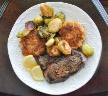 Surf and Turf Crab Cakes Filet Mignon and Roasted Brussels Sprouts