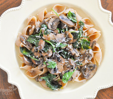 spinach and mushroom pasta mediterranean baby-1